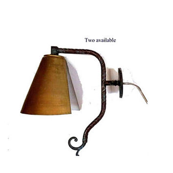 One of a kind upcycled vintage wall lamp, handmade from old copper and metal lamp parts.