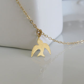 Gold Necklace - Gold Bird Necklace, Small Sparrow Necklace, Mothers Gift, Flying Bird Charm, Gold Jewelry, Tiny Gold Necklace