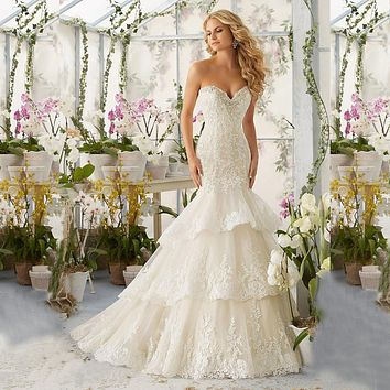 High Quality New Fashion Lace Mermaid Champagne and Ivory Wedding Dresses Off The Shoulder Bridal Gown Custom Size