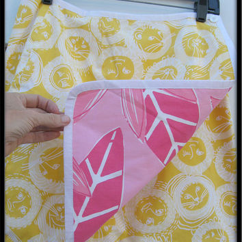 Lilly Pulitzer pink flower yellow lion sun print cotton reversible mini skirt