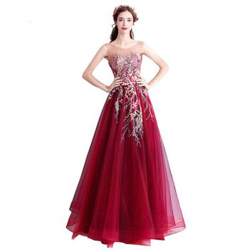 Burgundy Evening Dresses Prom Gown Tulle Embroidery Crystal Pearl Long Elegant