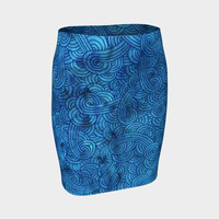 Turquoise blue swirls doodles Fitted Skirt Fitted Skirt