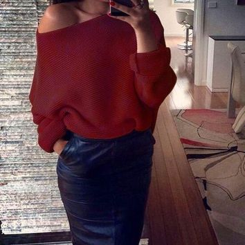 Sexy off shoulder knitted sweater Women black long sleeves pullover Tops knitwear Autumn winter jumper pull femme