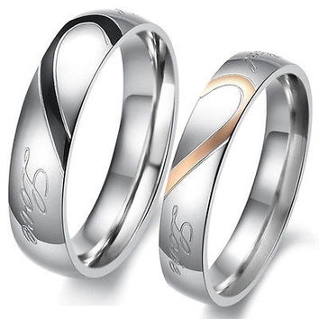 "Lackingone Promise Ring For Couple Simple Half Heart-Shape Engagement  Ring ""True Love""Rings = 1929956484"
