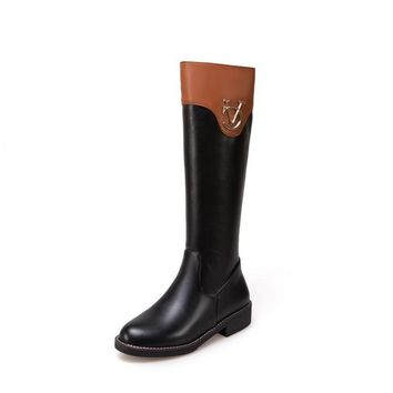 Metal Zip Color Blocking Knee High Boots for Women 4128