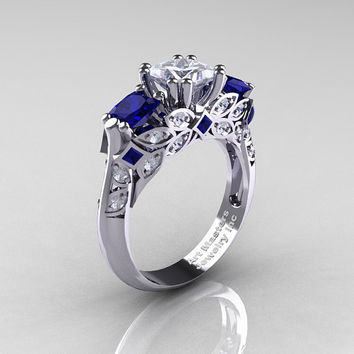 Classic 14K White Gold Three Stone Princess White and Blue Sapphire Diamond Solitaire Engagement Ring R500-14KWGDBSWS