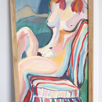 BEST OFFER SALE!! Free Shipping..Nude Watercolor Art by Lorie Balistocky.. Philly, Philadelphia, New Jersey, Nyc, etc.