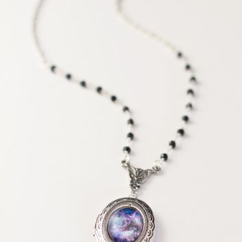 Dainty Beaded Galaxy Locket