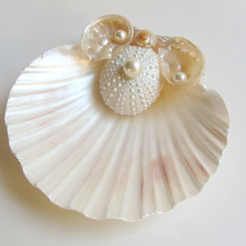 Beach Wedding Seashell Ring Pillow Shell Ring Bearer Bridal Accessory with Sea Urchin and Abalone Shell Accents
