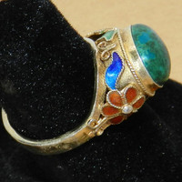 CIJ SALE Vintage Chinese Export Enamel Floral Green and Blue Cabochon Sterling Silver Ring
