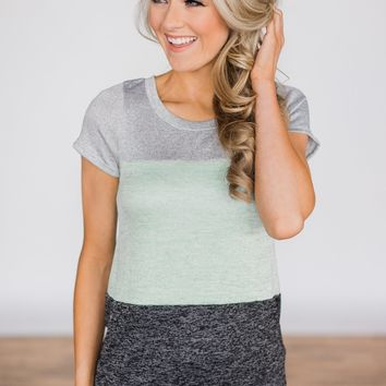 Summer Neon Lights Color Block Top - Charcoal & Mint