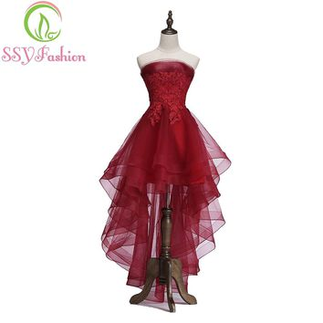 New Elegant Wine Red Cocktail Dress Bride Banquet Strapless Short Front Long Back Party Formal Gown
