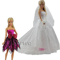 Barwa® Princess Evening Party Clothes Wears Dress Outfit Set for Barbie Doll with Veil One Free Mini Dress