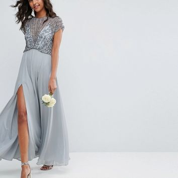 ASOS Bridemaid Delicate Beaded Bodice Maxi Dress at asos.com