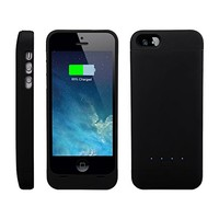 [Apple-Certified] EasyAcc® MFi 2200mAh Colorful iPhone 5 5s 5c Battery Charging Case,Rechargeable Extended Protective Battery Case for iPhone 5 5s 5c,Original Lightning Charging Plug,Black [24-month Warranty]