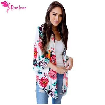 Dear Lover Vintage Kimono Cardigan Autumn 2018 Women Loose Lightweight Bell Sleeve Floral Outwear Blouse Print Top Beach LC85156