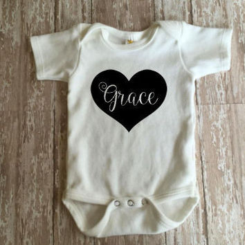 Heart Name Bodysuit |  Baby Girl Heart Name Bodysuit | Personalized Bodysuit |  Baby Clothing