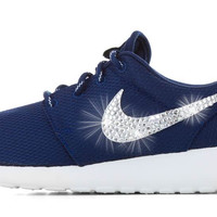 Nike Roshe One - Blinged Swarovski Crystal Swoosh - Navy/White
