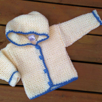 Baby Hoodie ( Handmade crochet baby sweater hoody with blue rattle buttons and Hood ) -  Baby Hoody Size 1
