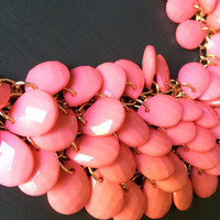 Pink Coral Colored Bib Necklace