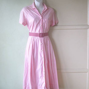 Candy Pink 1950s Shirtwaist Dress; Medium - '50s Pink Cotton Day Dress - Retro Fit/Flare Hairspray Dress - Pink Housewife Dress/Atomic