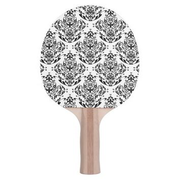 Floral Boho Black And White Damask Pattern Ping-Pong Paddle