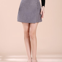 Gray Wrap A-line Mini Skirt