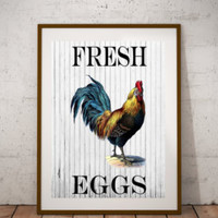Fresh eggs print-Country kitchen print-Rustic kitchen wall decor-Kitchen digital print-Rooster art print-Kitchen wall art-Home decor print