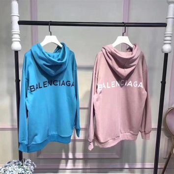 DCCK6HW Balenciaga' Simple Casual Letter Print Long Sleeve Hooded Sweater Women Hoodie Sweatshirt Tops