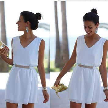 White Beach Women Dress Mini Sun V Neck Dress Casual Summer Dress 2015 Vestido Vestidos With Squin Summer Style (With Sashes)