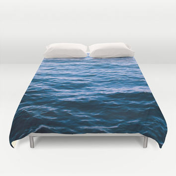 Duvet Cover, Ocean Beach Waves Bedding Cover, Nautical Coastal Surf Decorative Bedroom Decor, Home Decor, King, Queen, Full