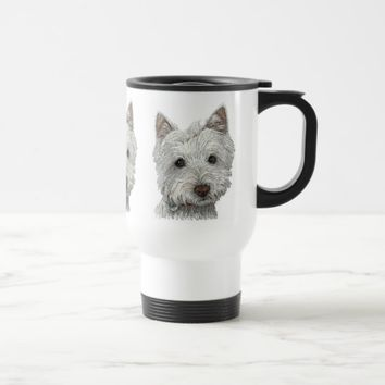 Westie dog travel mug