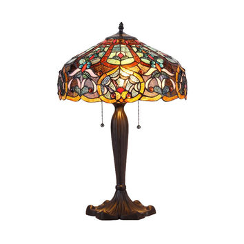 "CHLOE Lighting PIXIE Tiffany-style 2 Light Victorian Table Lamp 16"" Shade"