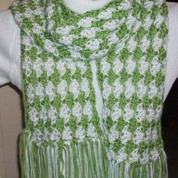 Handmade Crochet Scarf with Caron's Simply Soft Pistachio and White Acrylic Yarn; Clam Shell Pattern with Fringe