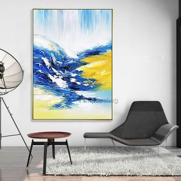 Mordern Abstract acrylic painting on canvas Original Seascape Blue and Gold Paintings extra large Wall Art Pictures for living room decor