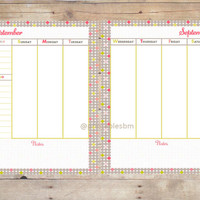 Soft Summer Printable Undated Two Page Weekly Planner for every month/ daily organizer/ weekly organizer/ goals/ to do list /8.5 x 11 /