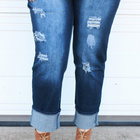 The Gabriella Distressed Cuffed Jeans ~ Dark Denim ~ Sizes 14-24