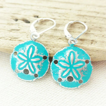 Sand Dollar Ocean Earrings, Teal Patina Sand Dollars, Sterling Silver Jewelry, Beach Earrings, Blue, Green, Gift, Beach Jewelry, Leverbacks