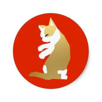 Fortune Cat (Chinese New Year) Classic Round Sticker
