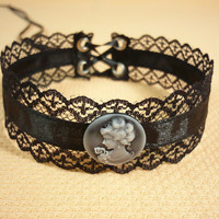 Victorian Lace Choker with Grey Cameo, Black Gothic Retro Necklace , Baroque,Court Lady Victorian Neck Piece with Corset Ties