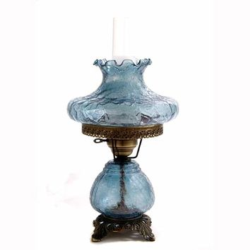Summit Lamp Company 3939-LBG 19-Inch Crackle Lamp with Blue Tamoshanta Glass Shade