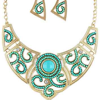 Blue Stone Carving Pattern Earrings and Collar Necklace Set