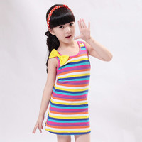 Best Sale!! Baby Kids Children Sweet Girl Wear Casual Cute Sleeveless Stripe Bowknot Short Vest Dress Sundress