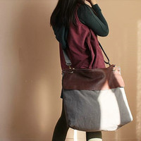 Leather-Canvas Messenger Bag / Tote Bag/ Crossbody / Shoulder Bag / Handbag / IPAD Bag / Laptop Bag