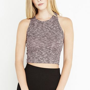 Pink See You Soon Heathered Soft-Knit Crop Top