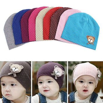 Dot Pattern Baby Hat Winter Knitted Baby Beanies For Child Kids Boys Girls Toddler Cotton Cap Infants Hat