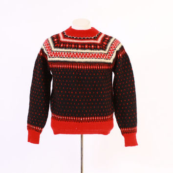 Vintage 60s Men's SWEATER / 1960s RED & Black Scandinavian Wool Pullover Ski Sweater M