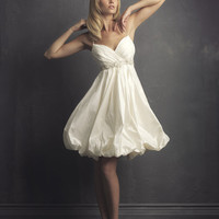 2011 Far & Away by Allure - Ivory Taffeta Pleated Empire Waist Bubble Short Destination Wedding Dress - 2 to 32 - Unique Vintage - Bridesmaid & Wedding Dresses