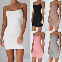 Fashion Sleeveless Dress Sexy Women Package Hip Mini Dress Casual Style Slim Sexy  Dress