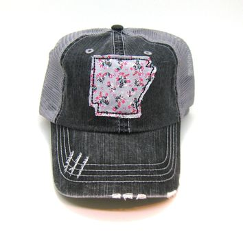 Arkansas Trucker Hat - Distressed - Floral Fabric State Cutout